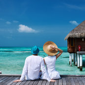 Couple on a beach wallpaper